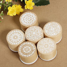 6X Round Wooden Assorted Retro Vintage Floral Pattern Rubber Stamp Scrapbook Fun