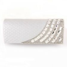 Charming Shell Evening Bag Clutch Silver Bag European Crystal Elements on Front