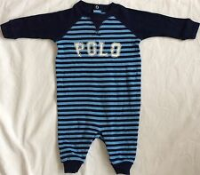 New Baby Boys Ralph Lauren Long Sleeves  Graphic  Coverall Body Suit/Romper 9M
