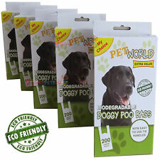 1200 Dog Puppy Doggy Scented Biodegradable Poo Bags Pet  Poop Dispose (6 x 200 )