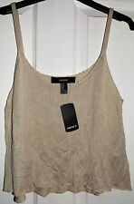 FOREVER 21 ASOS TAUPE THIN KNIT CROPPED TOP M BNWT