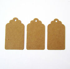 50 scalloped top edged brown kraft card decorative parcel gift tags - 40x70mm