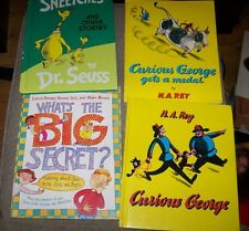 CHILDRENS BOOKS LOT OF 4 CURIOUS GEORGE, DR SEUSS, AND WHAT'S THE BIG SECRET