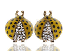 Fun Big Rounded LJH Crystal Rhinestone Painted Ladybug Insect Stud Earring ERA