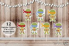 12 Little Ninja Turtles Toppers Inspired by TMNT - Food Picks - Cupcake Toppers