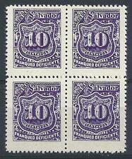El Salvador 1898 Sc# J37 vio 10c Postage due block 4 MNH