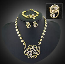 Women Gold Plated Crystal Necklace Earrings Wedding Party African Jewelry Sets