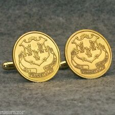 Connecticut  State Seal Coat of Arms Token Cufflinks,  Vintage Brass