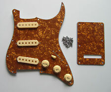 Gold Pearl Strat Pickguard,Trem Cover with Cream Pickup Covers,Knobs,Switch Tip