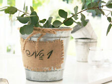 ANTIQUE VINTAGE  FRENCH CHIC GALVANISED LINEN BUCKET HERB PLANTER POT CHRISTMAS