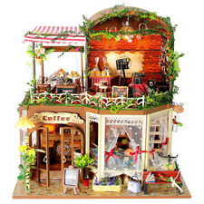 Kits DIY Wooden Dollhouse Miniature Dolls House Xmas Valentines Gift Coffee Shop