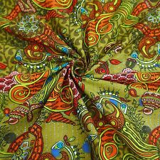 """Green Opaque Cotton Designer 40"""" Wide Printed Fabric Sewing Crafting By 1 Yard"""