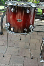 "PDP by DW 14"" FLOOR TOM RED to BLACK SPARKLE BURST for YOUR DRUM SET! LOT #S310"