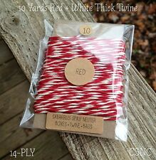 10 Yards Thick Baker's Twine  - Red + White  14-Ply Cotton Twine -Crafts -Bakery