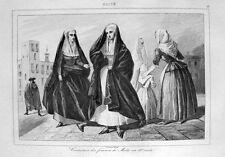 Malta Frauen-Trachten 18.Jahrhundert Costumes des femmes de Malte XVIIIe siècle