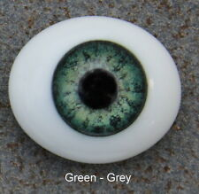 Solid Glass, Flatback Oval Paperweight Eyes - Green Grey, 10mm