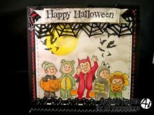 FIVE HALLOWEEN MONSTERS Wood mounted art impressions rubber stamps
