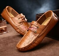 Mens Croco Lace Up Moccasin-gommino Casual Boat Leather SHoes Pumps Lace Up hot