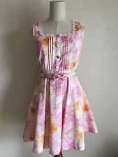 990.LIZ LISA Japanese popular brand pink flower printed dress with ribbon belt