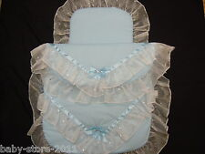 Beautiful Pram Quilt and Pillow Set BLUE   romany Style suitable for MOST PRAMS