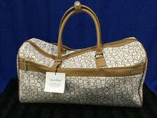 NWT Calvin Klein Duffle Bag Luggage / Travel Bag White & Brown W/ Shoulder Strap
