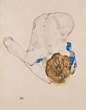 Nude with Blue Stockings, Bending Forward Egon Schiele Frauen Nackt B A3 01608