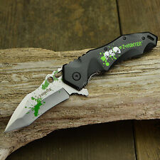 """8 1/2"""" Spring Assisted Opening Zombie Tactical Skull Black Folding Knife New!"""