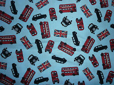 CLEARANCE FQ LONDON TRANSPORT VEHICLES RED BUS TAXI UNION JACK FLAG UK FABRIC
