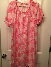 KIM ROGERS INTIMATES Size 1X Pink Peasant Neck 3 Button Pullover Nightgown NEW