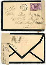 USA to FRANCE WW1 1918 MOURNING ENVELOPE MILITARY CENSOR to P.PREVOST