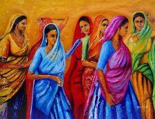 Indiano pittura ad olio su tela, musicali, Textured, tavolozza COLTELLO, Donne