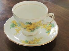 Royal Vale Yellow floral tea cup and saucer bone china