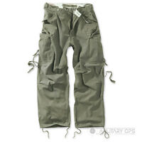 SURPLUS RAW VINTAGE FATIGUES TROUSERS CARGO COMBAT PANTS OLIVE GREEN