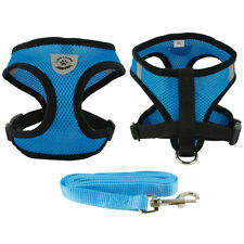 Blue 11-14'' Soft Air Mesh Puppy Pet Dog Vest Harness & Lead Set for Small Dogs