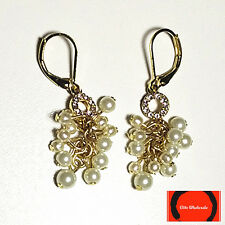 Anne Klein Gold Tone Pave Imitation Pearl Shaky Drop Earrings
