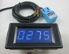 24V 4 Digit Blue LED Counter Meter Panel+Waterproof Proximity Switch Sensor NPN