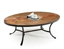 Reclaimed Wood Coffee Table Restoration Metal Hardware Oval Cocktail Rustic