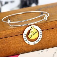Brother Double Pendant Bangle Bracelet Silver Plated Fashion Family Love Trendy