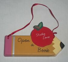 Teacher Study Zone Open a Book Pencil Apple Christmas Tree Ornament Plaque Sign
