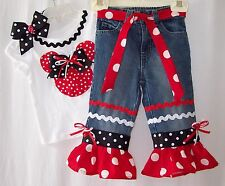 Custom boutique Disney Minnie Mickey Mouse jeans outfit all sizes avail.
