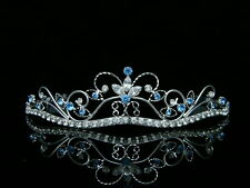 Blue Bridal Rhinestones Crystal Wedding Silver Crown Tiara 6462