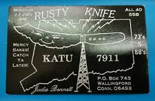 "HAM CB RADIO QSL Trading Card ""RUSTY KNIFE - JUDIE BENNETT - WALLINGFORD CONN"