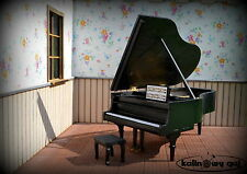 grand piano forte miniature 1:12 scale dollhouse