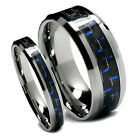 Matching Wedding Band Set Tungsten Rings, Blue and Black Carbon Fiber, 8MM & 5MM