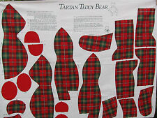 Vintage Sewing Fabric Panel Tartan Teddy Bear Cut & Sew Plaid Stuffed Bear