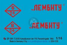 "Peddinghaus 1/16 Russian T-34/85 ""Lembitu"" Tank Markings 116.TB Russia 1944 2881"