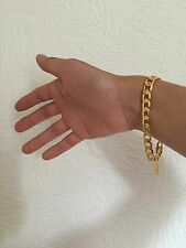 "Premium Quality 8mm 8"" 18K Yellow Gold Filled Chain Bracelet Men's Birthday Gift"