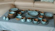 1968 Ceramic Dinnerware 46 pc Set Azura by Taylor Smith Blue Floral Pattern