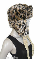 NWT Juicy Couture Leopard Luxe Faux Fur Ski Snowboard Ear Flap Trapper Hat