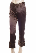 New Satin Trousers Brown Size 8 (38) Ladies